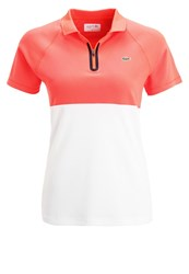 Lacoste Sport Polo Shirt Fluo Energy White Navy Blue Red