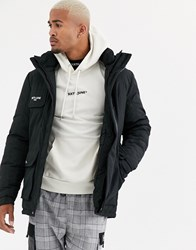 Sixth June Technical Parka Coat In Black With Reflective Detail