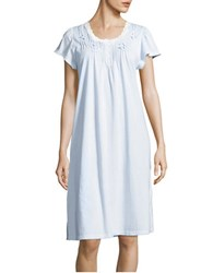 Miss Elaine Scalloped Button Down Slip Gown Blue
