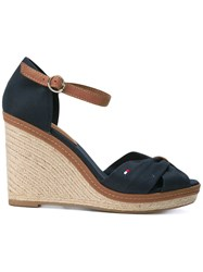 Tommy Hilfiger Wedged Sandals Women Cotton Rubber 37 Blue