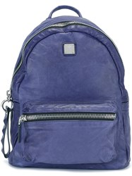 Mcm Leather Backpack Blue