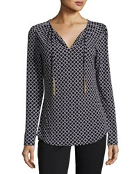 Michael Michael Kors Chain Link Tie Neck Top Black White