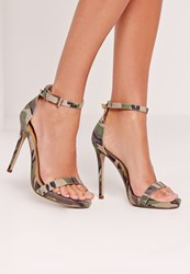 Missguided Barely There Sandal Camouflage Green