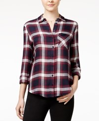 Polly And Esther Juniors' Herringbone Plaid Shirt Navy Red