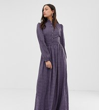Glamorous Tall Maxi Dress With High Neck In Mini Check Purple Check