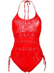 Ermanno Scervino Lace One Piece Swimsuit Women Polyamide Spandex Elastane 4 Red