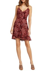 Willow And Clay Ruffle Lace Dress Wine