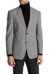 Tommy Hilfiger Black And White Checkered Two Button Notch Lapel Jacket