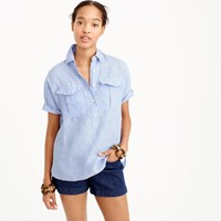 J.Crew Tall Short Sleeve Popover Shirt In Irish Linen