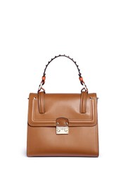 Valentino 'Cabana' Medium Leather Top Handle Satchel Brown