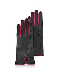 Forzieri Black And Fuchsia Cashmere Lined Leather Ladies' Gloves