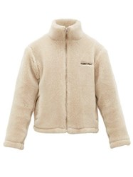 Ambush Logo Embroidered Wool Fleece Jacket Beige