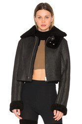 Yeezy Cropped Lamb Shearling Flight Coat Black