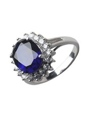 Lord And Taylor Sterling Silver Cubic Zirconia Oval Cocktail Ring Sapphire