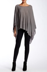 Dolce Cabo Poncho With Chiffon Trim Gray