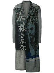 Yohji Yamamoto Printed Single Breasted Coat Grey