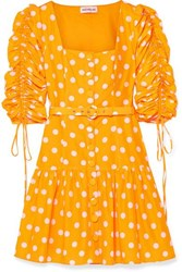 Nicholas Belted Ruched Polka Dot Cotton And Silk Blend Voile Mini Dress Yellow