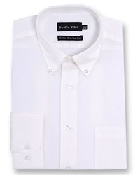 Double Two Men's Long Sleeved Non Iron Button Down Oxford Shirt White