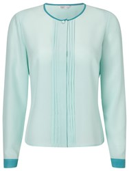 Eastex Contrast Tipped Pleat Blouse Blue
