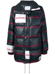 Calvin Klein Jeans All Over Logo Padded Jacket Black