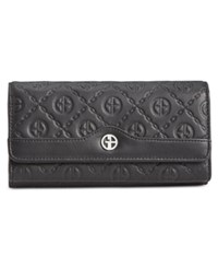 Giani Bernini Logo Embossed Receipt Wallet Black Silver