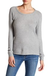 Chaser Back Cutout Thermal Long Sleeve Tee Gray