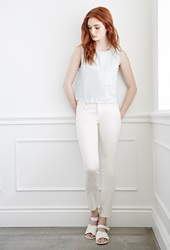 Forever 21 Classic Mid Rise Skinny Jeans Cream