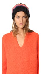 Free People Over The Rainbow Beanie Hat Black Combo
