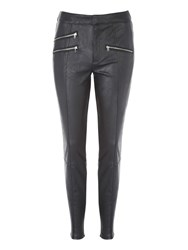 Jane Norman Black Pu Zip Detail Legging Black