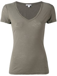 James Perse Plunging V Neck T Shirt Women Cotton 2 Green