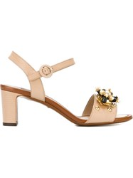 Dolce And Gabbana Flower Crystal Embellished Sandals Nude And Neutrals