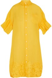 Junya Watanabe Oversized Embroidered Linen Shirt Dress Bright Yellow