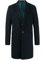 Paul Smith Ps Notched Lapel Single Breasted Coat Blue