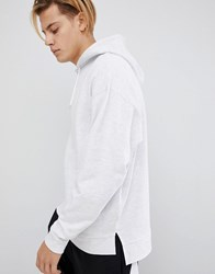 Asos Design Oversized Hoodie With Step Hem In White Marl White Marl