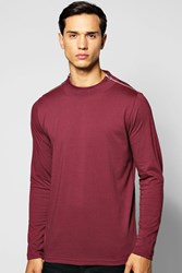 Boohoo Sleeve Turtle Neck T Shirt With Zip Neck Burgundy