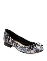 Anne Klein Petrica Leather Bow Tie Flats Black White