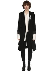 Ann Demeulemeester Double Breasted Wool And Cotton Coat Black