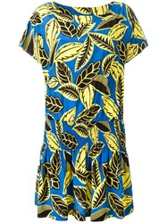 Boutique Moschino Leaves Print Elastic Dress