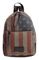 John Varvatos Collection Gibson Flag Print Backpack Brown Distressed Brown