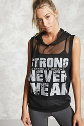 Forever 21 Active Strong Never Weak Top Black Grey