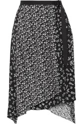 Rag And Bone Liv Asymmetric Printed Crepe Wrap Skirt Black