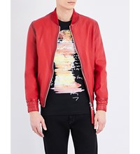 Blood Brother Guard Leather Bomber Jacket Red