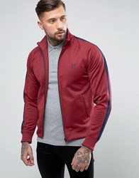 Fred Perry Contrast Panel Track Jacket In Maroon Maroon Red