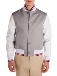 Thom Browne Colorblock Varsity Jacket Light Grey