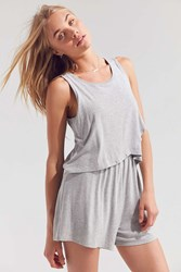 Silence And Noise Twofer Surplice Romper Light Grey