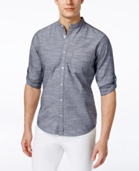 Inc International Concepts Men's Eric Banded Collar Long Sleeve Shirt Only At Macy's Navy