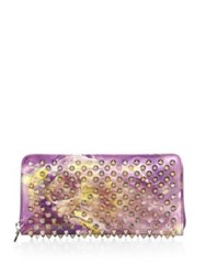 Christian Louboutin Panettone Spiked Patent Leather Wallet Purple Multi