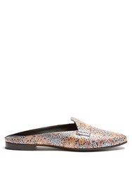 Pierre Hardy Jacno Decorative Print Leather Backless Loafers Multi