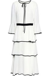 Mikael Aghal Woman Tiered Crepe Dress White