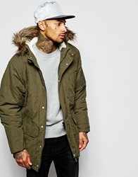 Supreme Being Supremebeing Parka Jacket With Faux Fur Hood Green